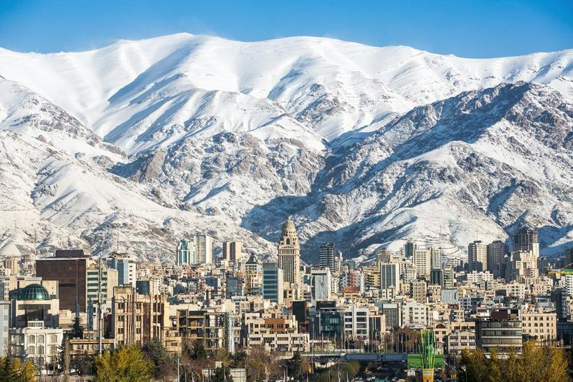 Tehran-and the mountain range of Alborz (Tehran is the largest city and urban area of Iran, the 2nd-largest city in Western A