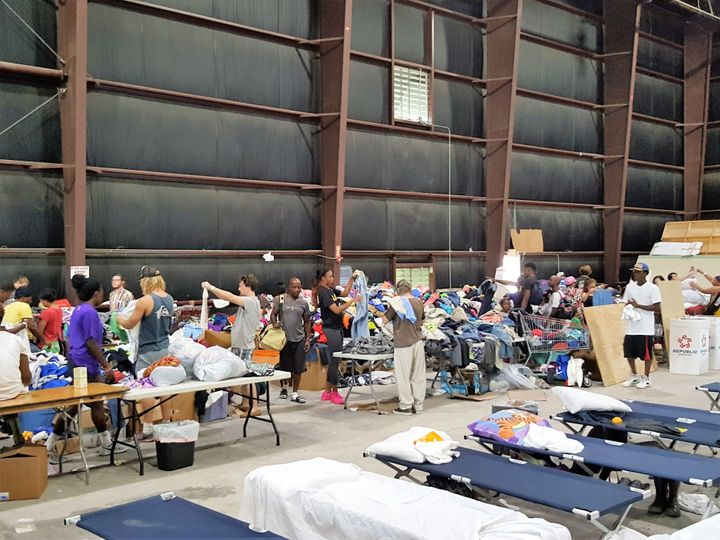 Evacuees at the Celtic Studios in Baton Rouge. The move studio has been turned into a makeshift shelter amid massive flooding