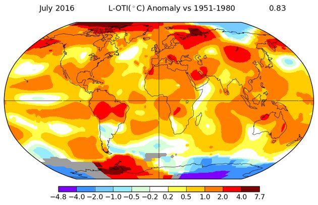 July 2016 hottest month on record