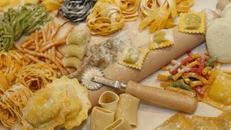 many sizes of fresh pasta made at italian restaurant