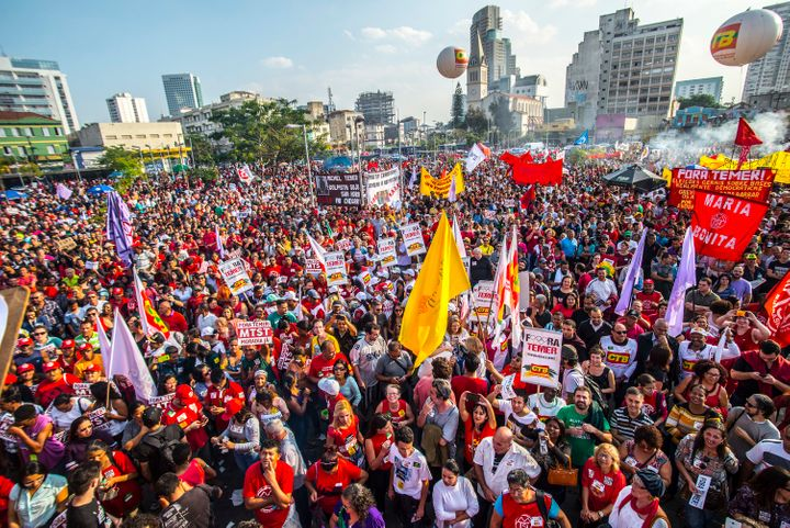 Supporters of Rousseff hold a protest against Temer in Sao Paulo on July 31.