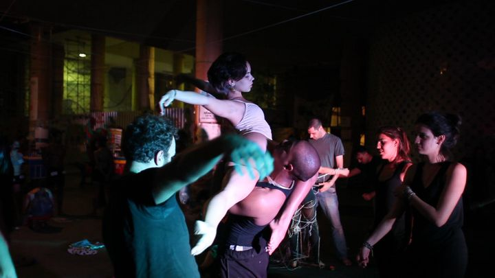 Ocupa MinC members put on adance performance meant to representthe roles of gender and race in Brazil, in CapanemainRio de Janeiroon July 10.