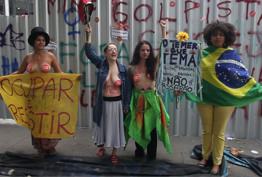 Ocupa MinC members protest at Capanema in Rio de Janeiro on July 25, the day the movement was evicted out of its te