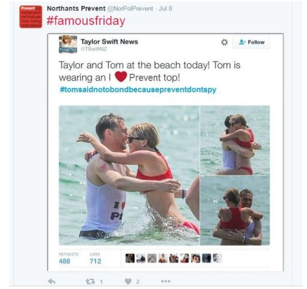 Taylor Swift And Tom Hiddleston Picture 'Doctored' By Police For Counter-Terrorism