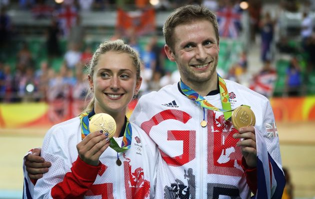 Laura Trott and Jason Kenny pose with their latest