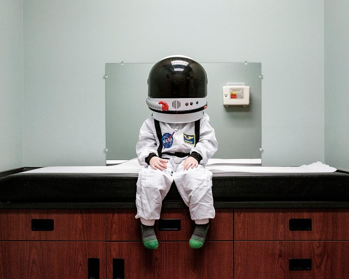 A trip to the doctor's office helped Sheldon form his idea for the photo series.