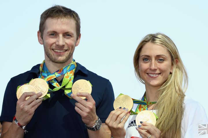 Jason Kenny and Laura Trott with their gold medals.