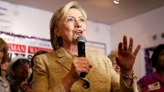 U.S. Democratic presidential nominee Hillary Clinton speaks to supporters at a field office for U.S. Representative Debbie Wasserman Schultz in Davie, Florida, U.S., August 9, 2016. REUTERS/Chris Keane
