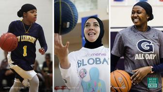 Basketball players Bilqis Abdul-Qaadir, Indira Kaljo and Kike Omu Rafiu