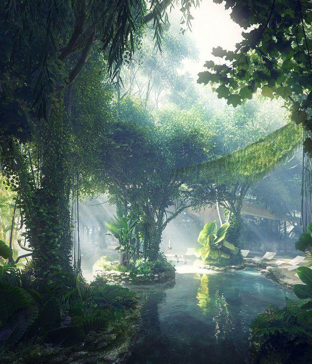 空中に熱帯雨林? ロボット?