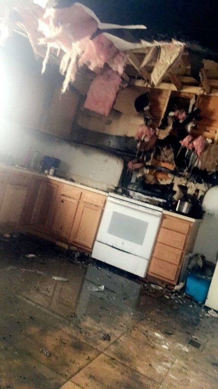 A photo shared on a GoFundMe page for Toya Graham shows their destroyed kitchen following a grease fire.