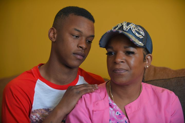 Toya Graham is seen with her teenaged son, Michael, back in April. On Saturday Graham's family was displacedfrom a kitc