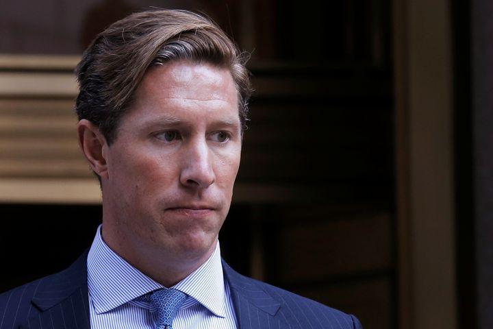 Former Perella Weinberg investment banker Sean Stewart exits the Manhattan federal court house in New York City, U.S. on July