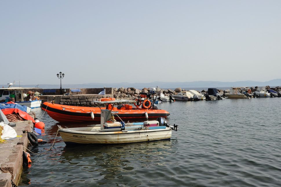 Empty fishing boats in the port of Skala Sikaminias, on the northern coast of the island of Lesbos.