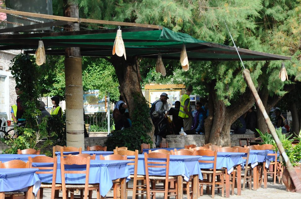 An empty restaurant in the port of Skala Sikaminias, where rescue boats bring dozens of refugees before they're transported t