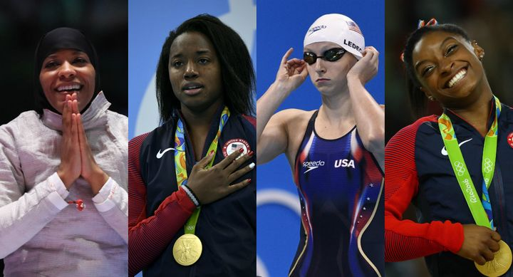 From left to right: Ibtihaj Muhammad, Simone Manuel, Katie Ledecky and Simone Biles.