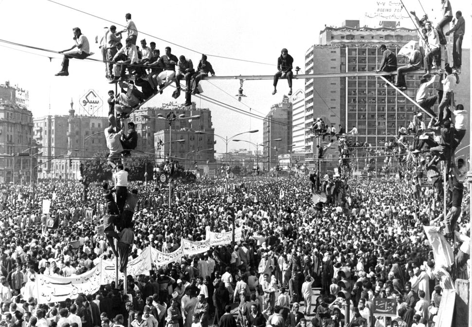 Millions of people crowded Cairo's streets to witness Nasser's funeral procession in Cairo on Oct. 1, 1970.