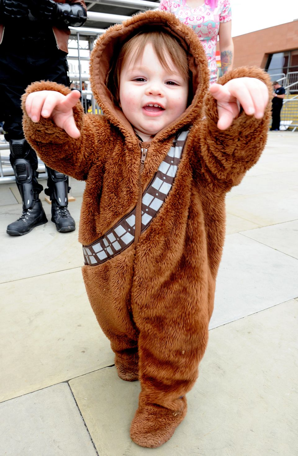 MANCHESTER, ENGLAND - JULY 30:  Young cosplayer dressed as Chewbacca of StarWars attends MCM Comic Con at Manchester Central