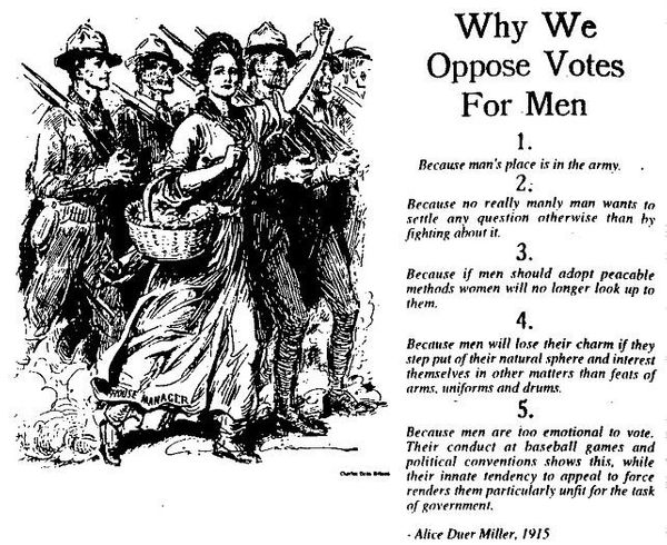 "The National American Woman Suffrage Association parodies <a href=""http://www.upworthy.com/just-a-few-good-reasons-why-men-pr"