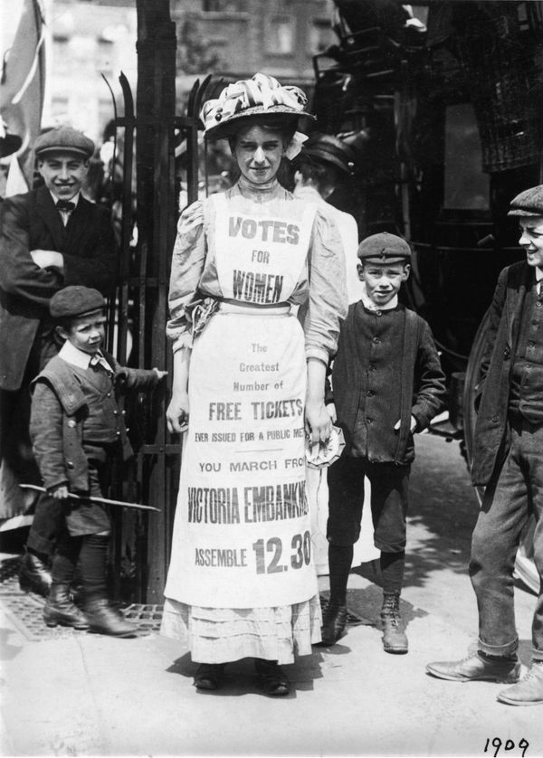 When life hands you stiff, uncomfortable apparel, make a pro-suffrage billboard. Emmeline Pankhurst, among the most famous vo