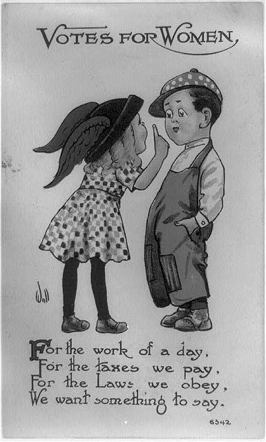 "A <a href=""http://loc.gov/pictures/resource/cph.3b41501/"" target=""_blank"">pro-suffrage postcard from 1913</a> is forceful and"