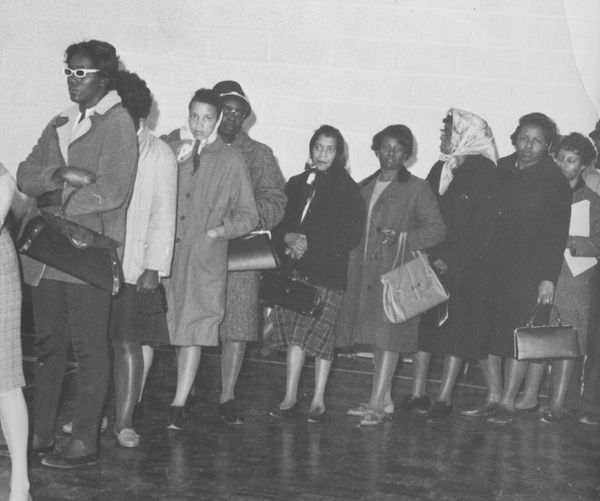 Women line up in Baltimore to vote in the 1964 election. The Civil Rights Act, which included greater protection for black vo