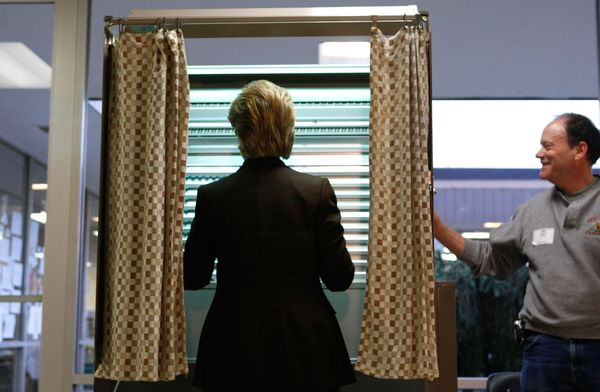 Hillary Clinton votes in the 2008 Democratic  primary, for which she was a candidate for president.