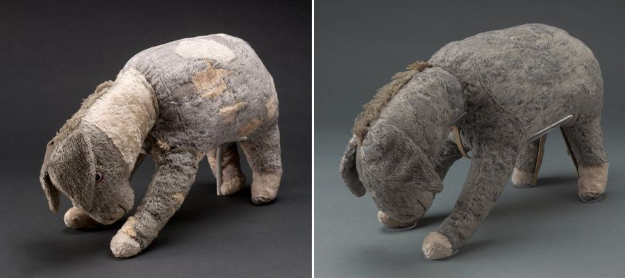 <strong>Eeyore before (left) and after the restoration (right). </strong>During his makeover, a&nbsp;total of 52 patches were