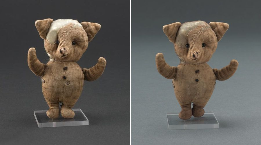 <strong>Piglet&nbsp;before (left) and after the restoration (right). </strong>During his makeover,&nbsp;Piglet&rsquo;s snout