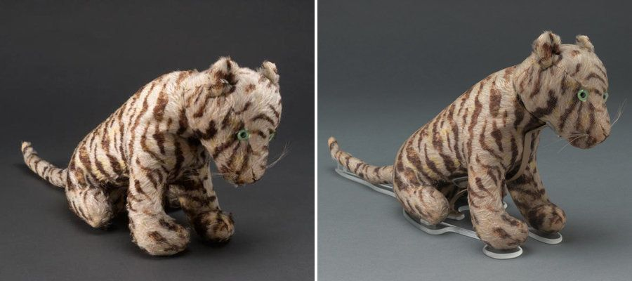 <strong>Tigger&nbsp;before (left) and after the restoration (right).</strong> During his makeover, the plush on the bottom of