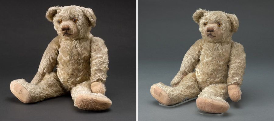 <strong>Winnie-the-Pooh&nbsp;before (left) and after the restoration (right).</strong>&nbsp;During his makeover,&nbsp;four wo
