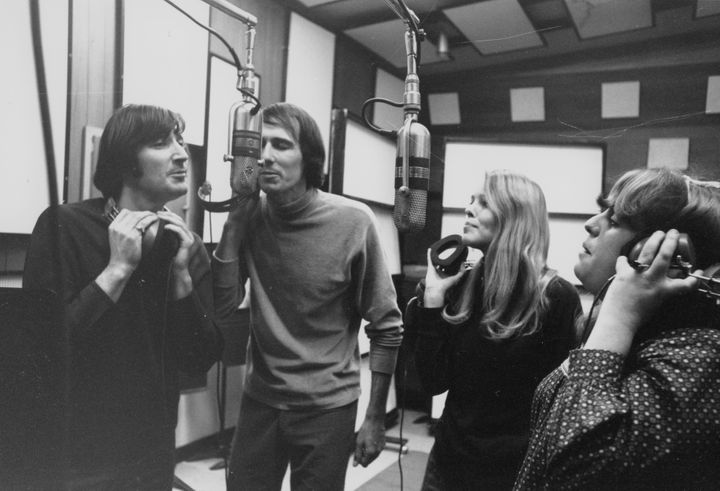 The Mamas & The Papas: Denny Doherty, John Phillips, Michelle Phillips and Cass Elliot in the recording studio, 1966.&nbs