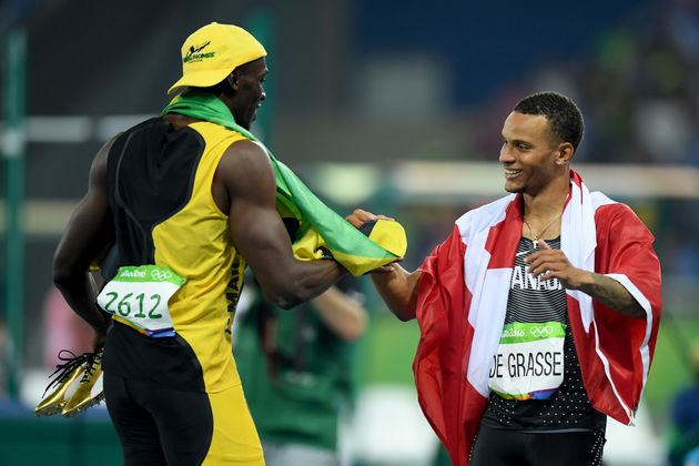 Usain Bolt And Andre De Grasse Pictured Laughing At The Finishing Line As Rivals Died On Their