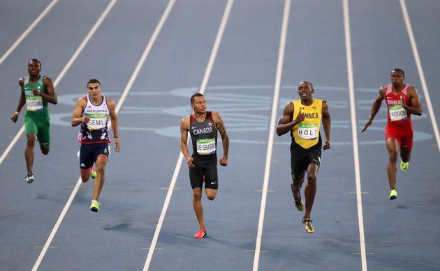 (left-right) Nigeria's Ejowvokoghene Oduduru, Great Britain's Adam Gemili, Canada's Andre De Grasse,...