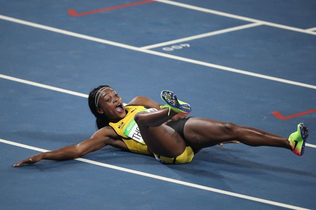 Jamaica's Elaine Thompson reacts after winning the Women's 200m