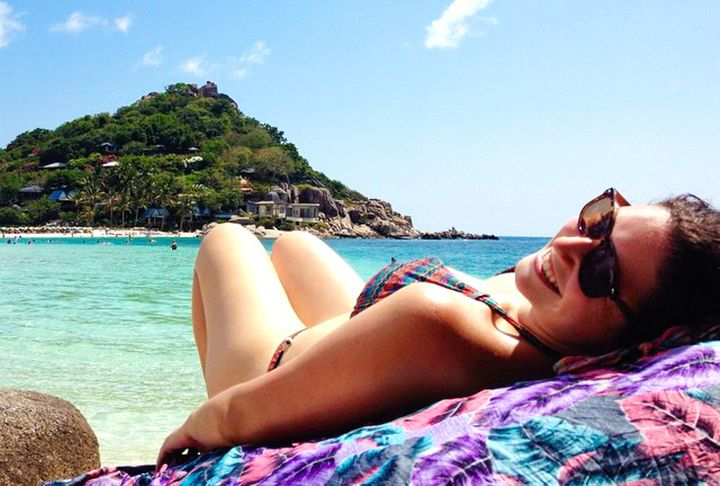 Laying on the beach in Koh Tao, Thailand