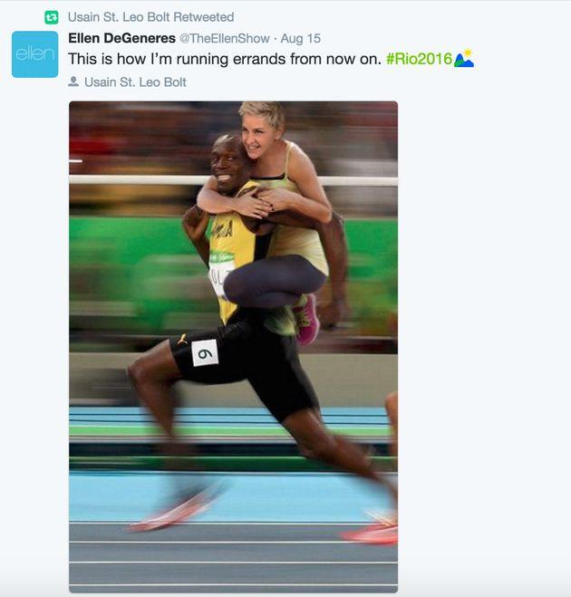 Ellen DeGeneres Defends Her Usain Bolt Joke Against 'Racist'