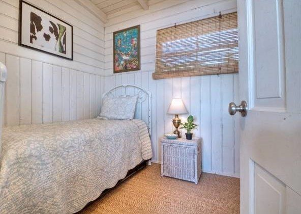 A bedroom in Eve Plumb's Malibu home.