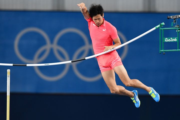 Hiroki Ogita competes in the qualifying round at the Olympics Saturday.