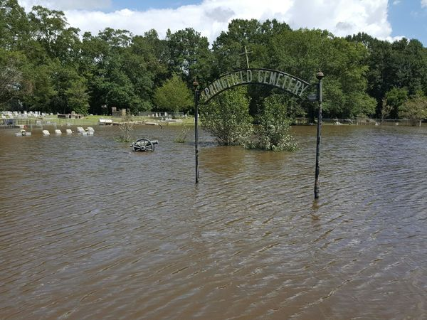 The Springfield Cemetery in Springfield, Louisiana is shown under water on Aug. 15.