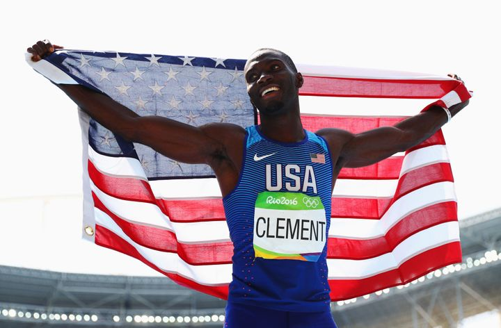 Clement, with the American flag afterward, won by just .05 of a second.