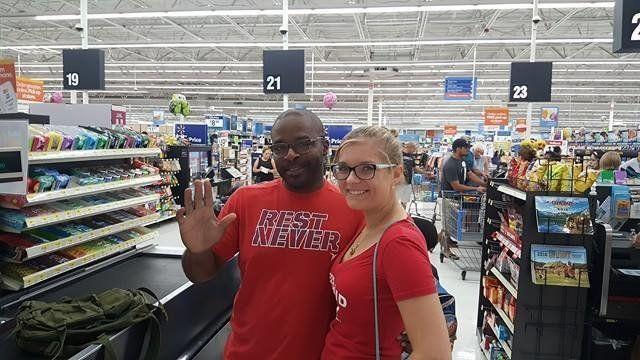 Lester Brown andSabrina Drude at Walmart.