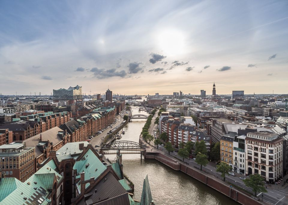 Aerial view of Hamburg, which replaced Sydney, Australia, inthe top 10 inThe Economist Intelligence Unit's livabi