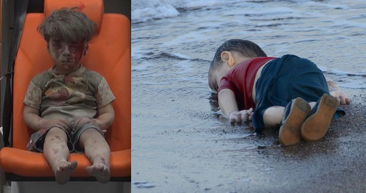 Omran Daqneesh, left, was injured in airstrikes on Aleppo on Wednesday. Aylan Kurdi, right, escaped Syria with his family onl