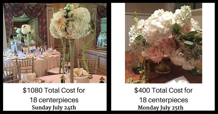 The florist will spruce up the arrangements between events to make sure they look fresh.