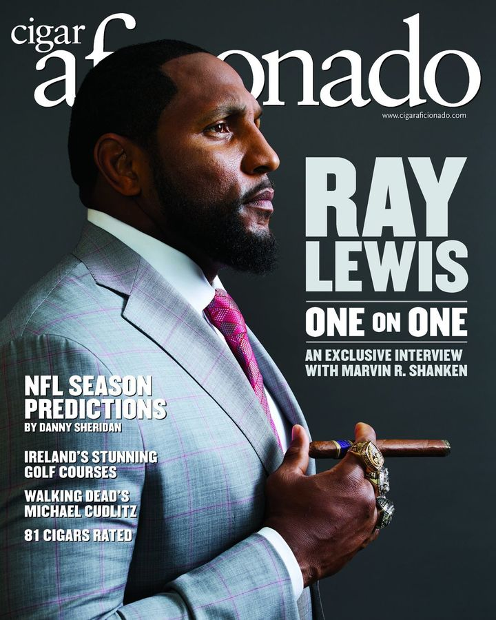 Ray Lewis covers the October issue ofCigar Aficionado.