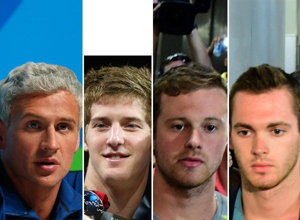 U.S swimmers tied to incident in Rio, left to right: Ryan Lochte, James Feigen, Jack Conger andGunnar Bentz.