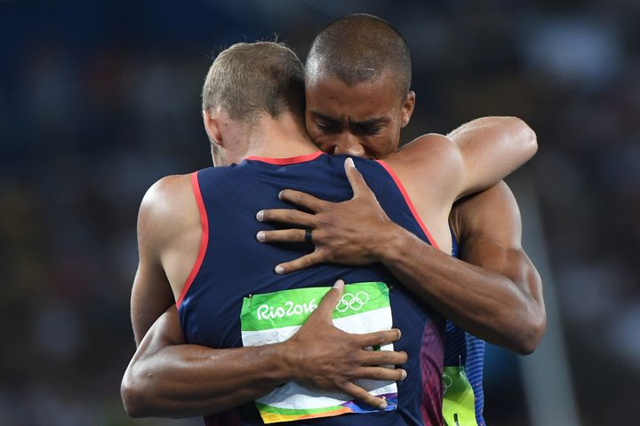 USA's Ashton Eaton celebrates with silver medallist France's Kevin Mayer after he won the Men's Decathlon during the ath