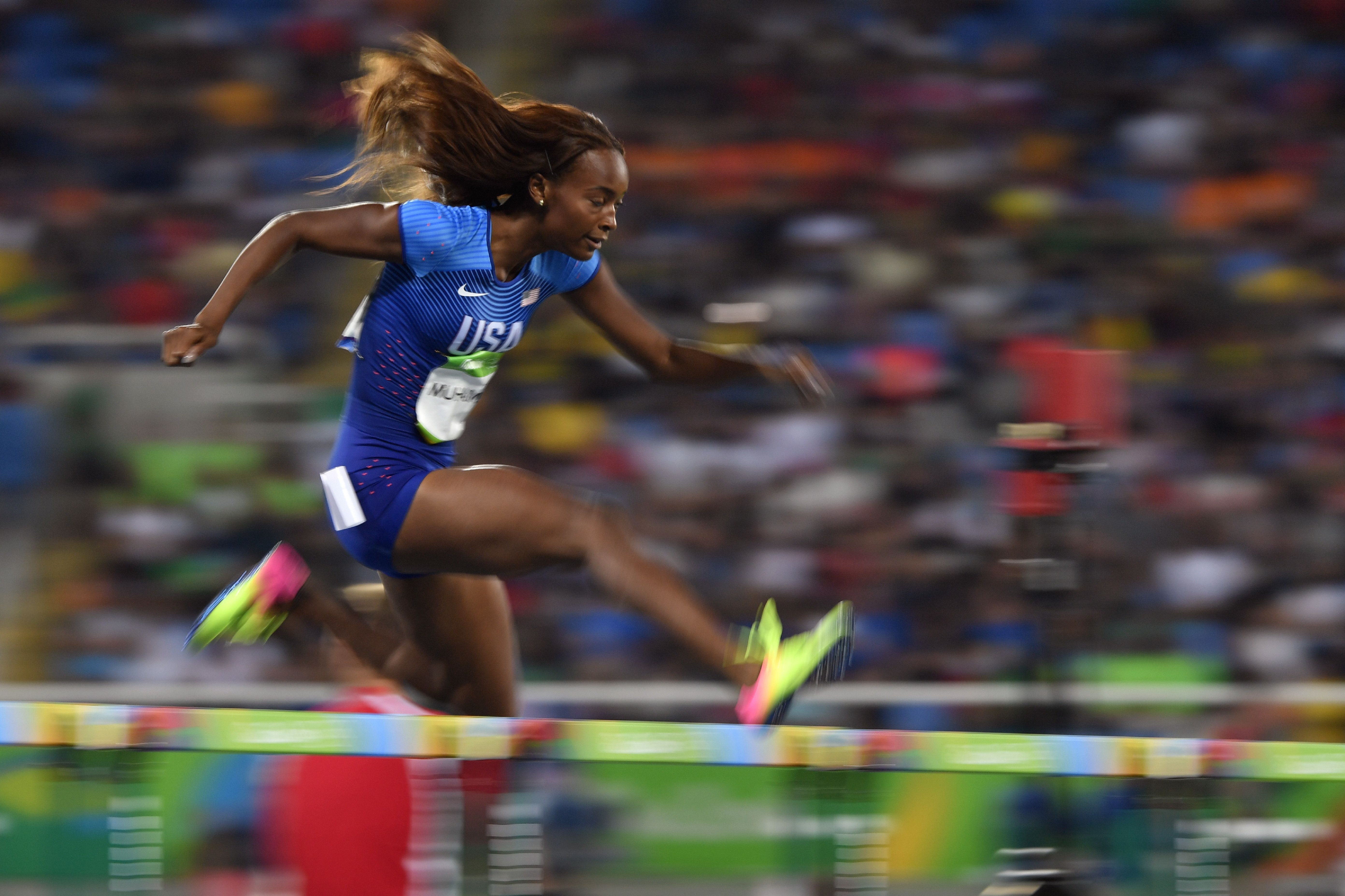 USA's Dalilah Muhammad competes in the Women's 400m Hurdles Semifinal at the Rio 2016 Olympic Games in Rio de Janeiro.