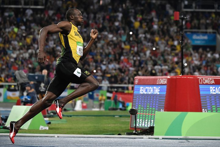 Usain Bolt competes in the men's 200m Final at the Rio 2016 Olympic Games at the Olympic Stadium in Rio de Janeiro on August